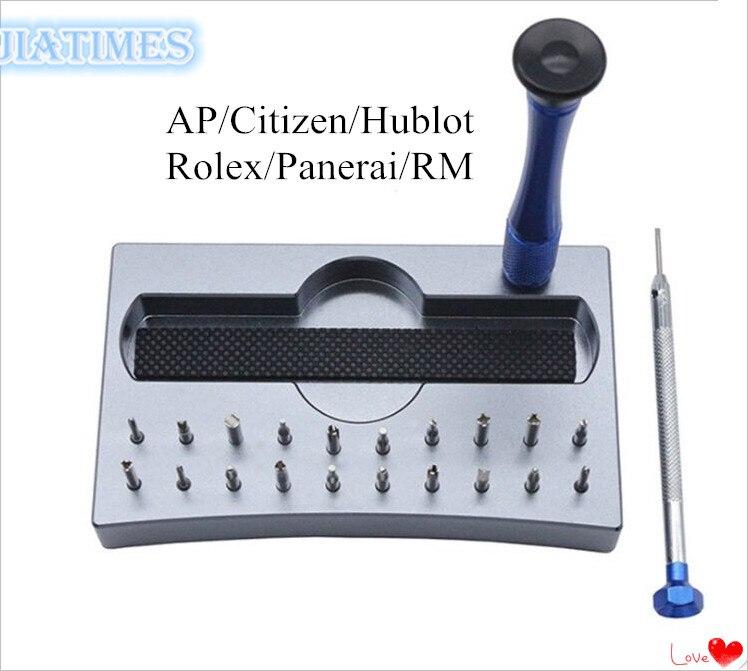 Asortyment 20 porady 6 w 1 zegarek ze stali nierdzewnej zestaw wkrętaków Rlx AP RM w Narzędzia i zestawy do naprawy od Zegarki na  Grupa 1