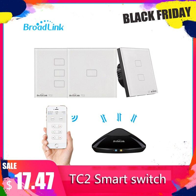Broadlink TC2 1/2/3 Gang-EU Standard 2019New Light Switch Modern Design White Touch Panel Wifi Wireless Smart Control Via RM Pro