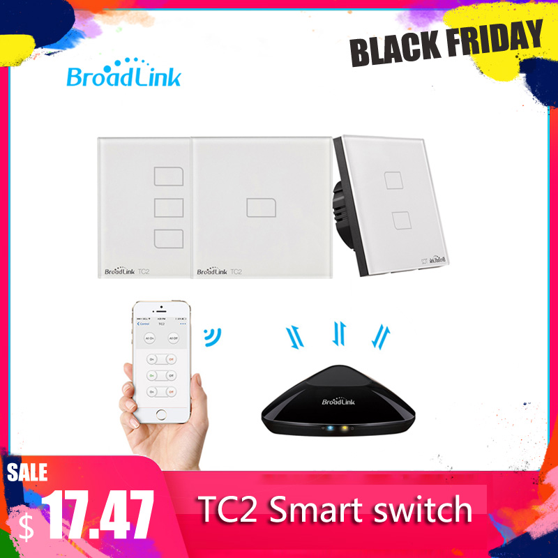 Broadlink TC2 1/2/3 Gang-EU Standard 2019New Light Switch Modern Design White Touch Panel Wifi Wireless Smart Control Via RM Pro