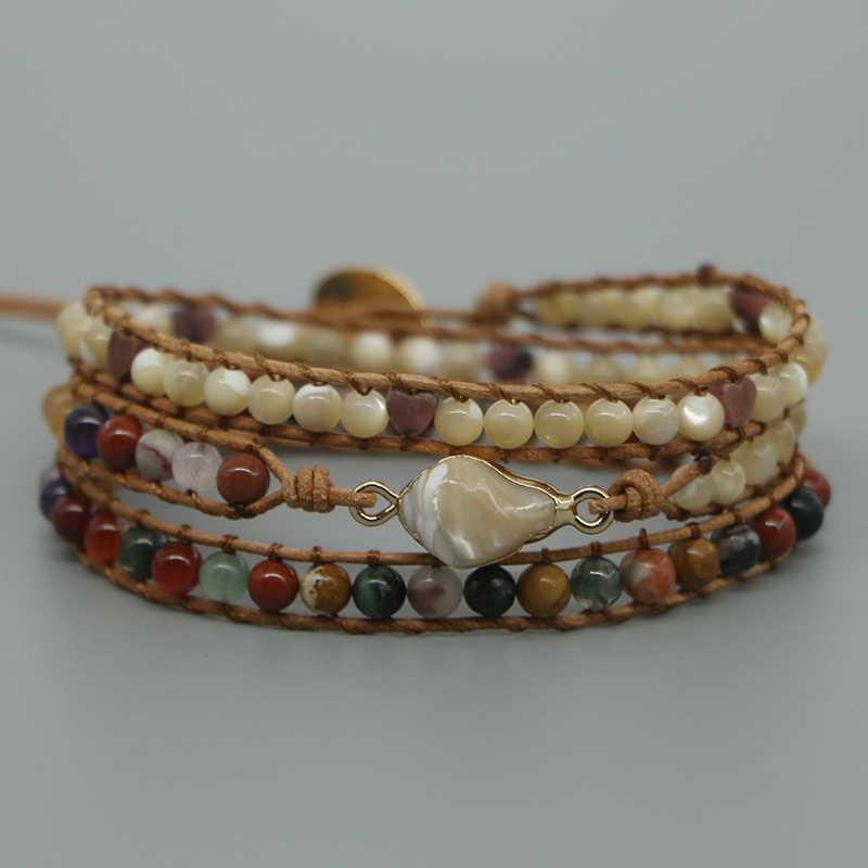 EDOTHALIA moda piedra Natural mezclado Boho cuentas pulsera mujer Concha Conch encanto 3 Strads envoltura pulsera de cuero Dropship