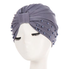 1 pz/lotto Solido di Modo Delle Donne Del Cotone Che Borda India Ruffle Turbante Musulmano Elastici Cap Headwrap Molle Beanie(China)
