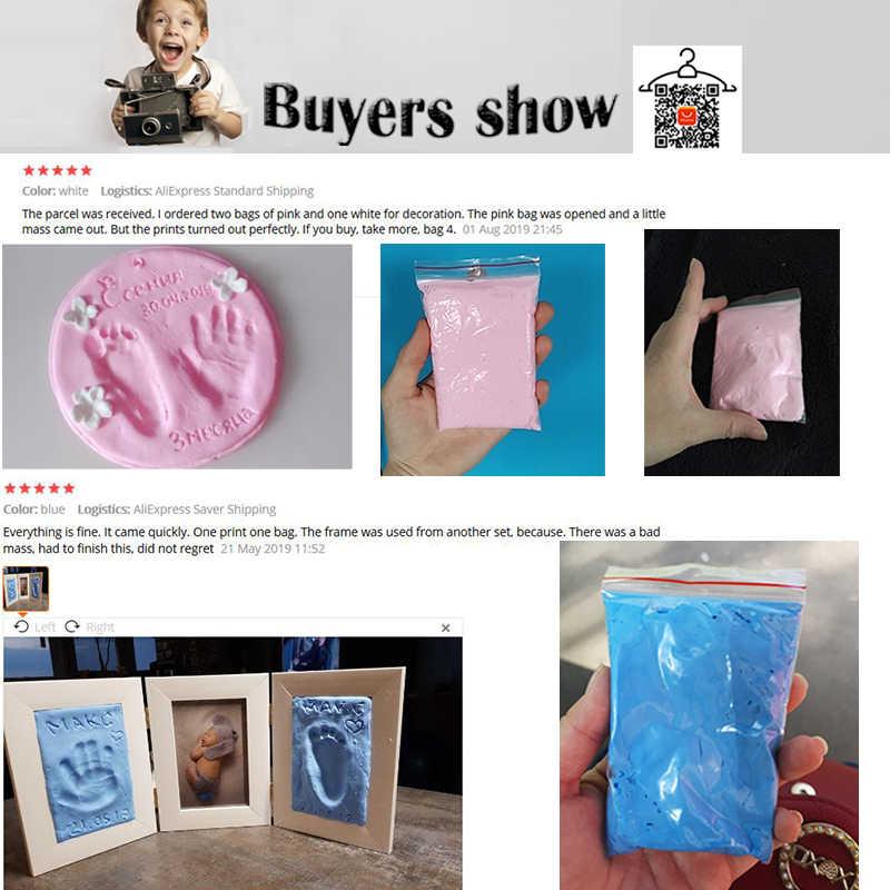 Bebek ayak izi ultra hafif stereo bebek bakımı hava kurutma yumuşak kil bebek el ayak künye kiti döküm DIY oyuncaklar pençe baskı pedi 30g
