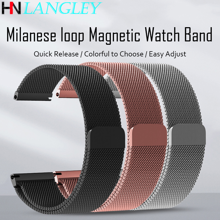 Quick Release Milanese Watch Band Stainless Steel Watch Strap 14mm 16mm 18mm 20mm 22mm WatchBands Bracelet Replacement Magnetic
