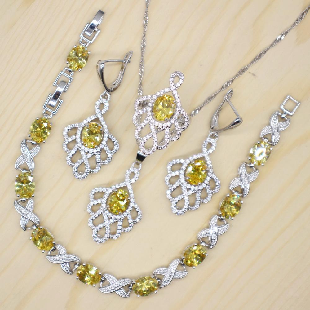 GZJY Women 925 Silver Wedding and Bridal Party Jewelry Sets Blue Yellow Red White Oval Crystal Earrings Necklace Rings Bracelet(China)