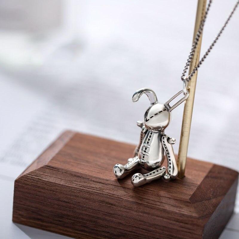 Collier pendentif lapin mobile en argent Sterling 925 Silvology collier Style japon Harajuku pour femmes bijoux à la mode filles