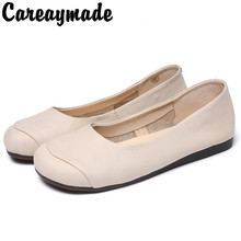 Careaymade-Mori Womens Shoes New Round Head Leisure Single Shoes,Top Layer Buffalo Wear-Resistant Flat-heeled Shoes, 2 colors
