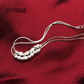 Bohemia 925 Silver Anklets For Women Multilayer Beads Pendant Anklet Sexy Foot Jewelry Best Gift Christmas Bijoux Decoration 3