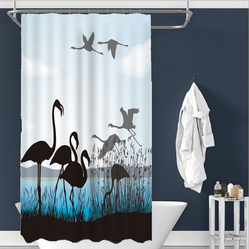 Sholisa Waterproof Polyester Blue Modern Flamingo Animal Shower Curtain Durable Environmental Protection <font><b>180*200</b></font> 180*180 150*180 image