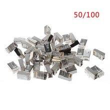 50/100 pces cat5 rj45 8-pin blindado conector de cabo de rede ethernet plug modular