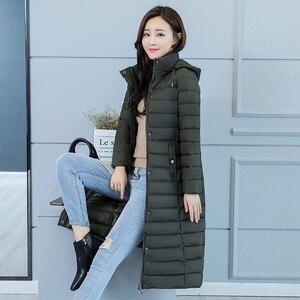 Image 5 - Kurtka zimowa damska ciepły bawełniany płaszcz z kapturem długa ocieplana kurtka z bawełny znosić długie parki 2019 nowa zimowa odzież damska