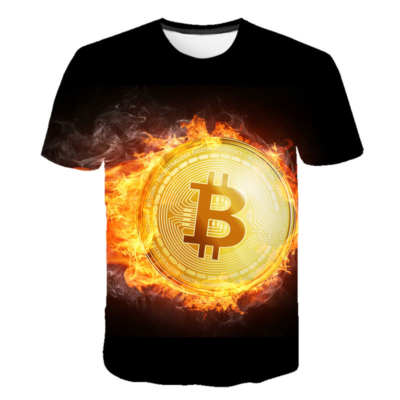 2021 latest summer men's 3d T-shirt Bitcoin printing casual streetwear loose short sleeves blockchain revolution cryptocurrency 2