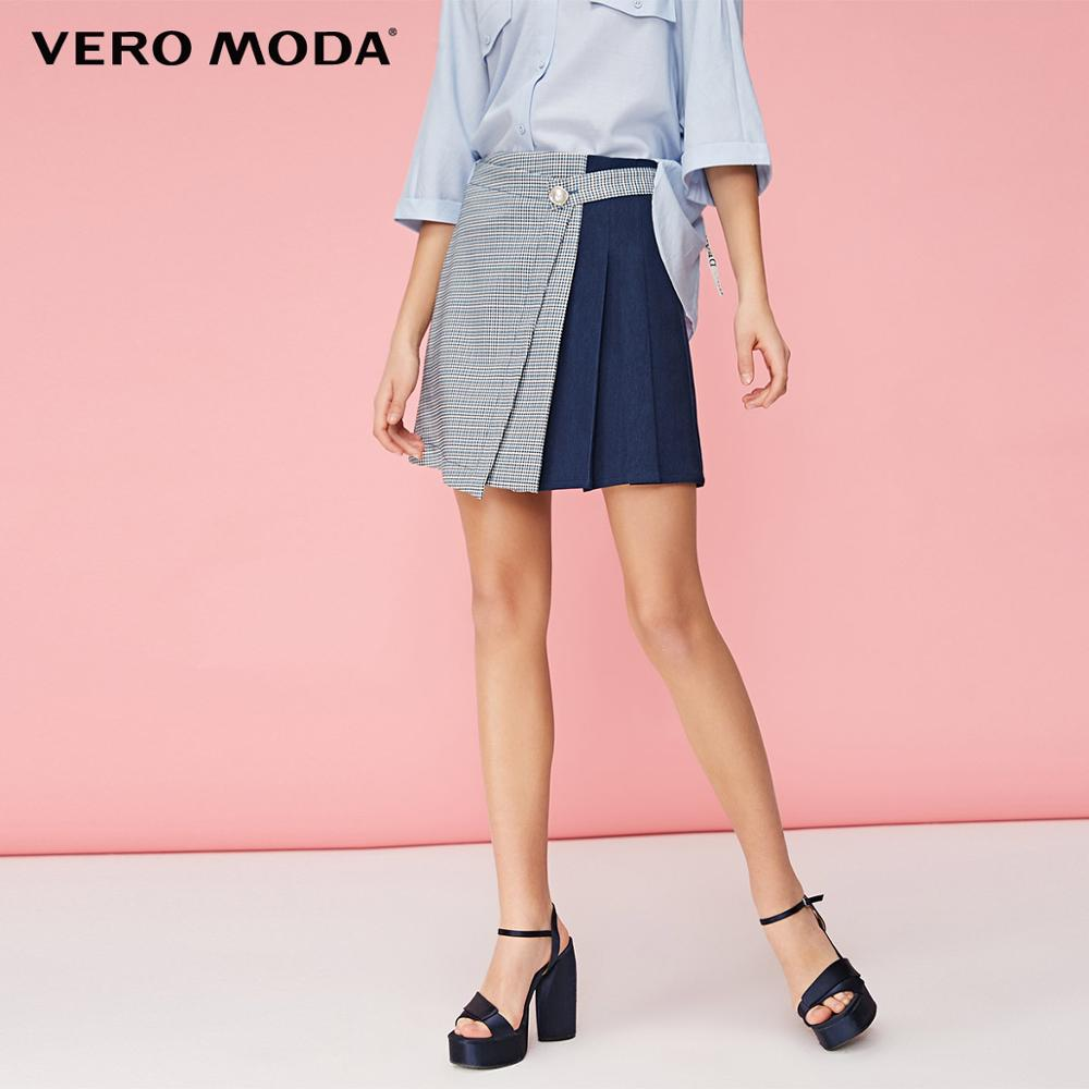Vero Moda Women's Plaid Spliced Fabric High-rise Skirt | 319237531