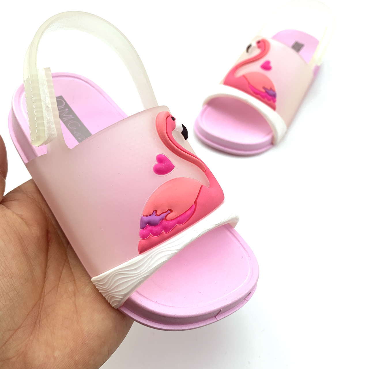 New Girls Jelly Shoes Summer Kids Shoes Boys Beach Sandal Baby Princess Children Sandals PVC Cute Cartoon Flamingo Toddler Shoes