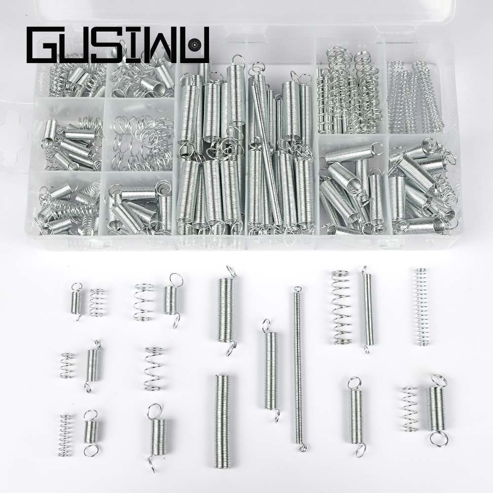GUSIWU 200pcs/set compression spring wire assortment kit zinc plated steel extension spring set hardware tool