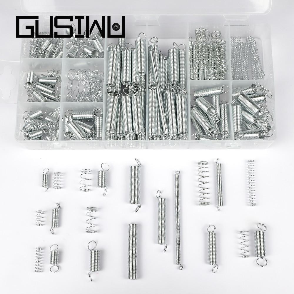 Kit sortido GUSIWU 200 fio da mola de compressão pçs/set aço zincado mola de extensão conjunto de ferramentas de hardware