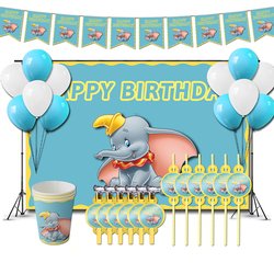 Dumbo Birthday Party Decorations Cartoon Children Toy Theme Supplys Banner Cups Straws for Toddlers