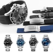 21MM 20MM סיליקון רצועת השעון עבור כיבוש L3 41mm 43mm חיוג שעון עבור צוללת GMT שעון יד רצועת להקת צמיד גומי כלים