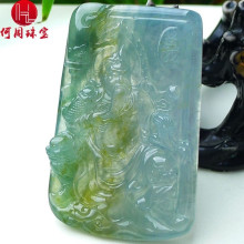 Hezhou jewelry!Myanmar natural jade!Exquisite hand carving!Guan gong pendant!Exquisite workmanship!81.99g mozart the statue of guan gong enshrines the god the sword lifts guan gong guan yu guan er ye wu caishen lucky ornaments