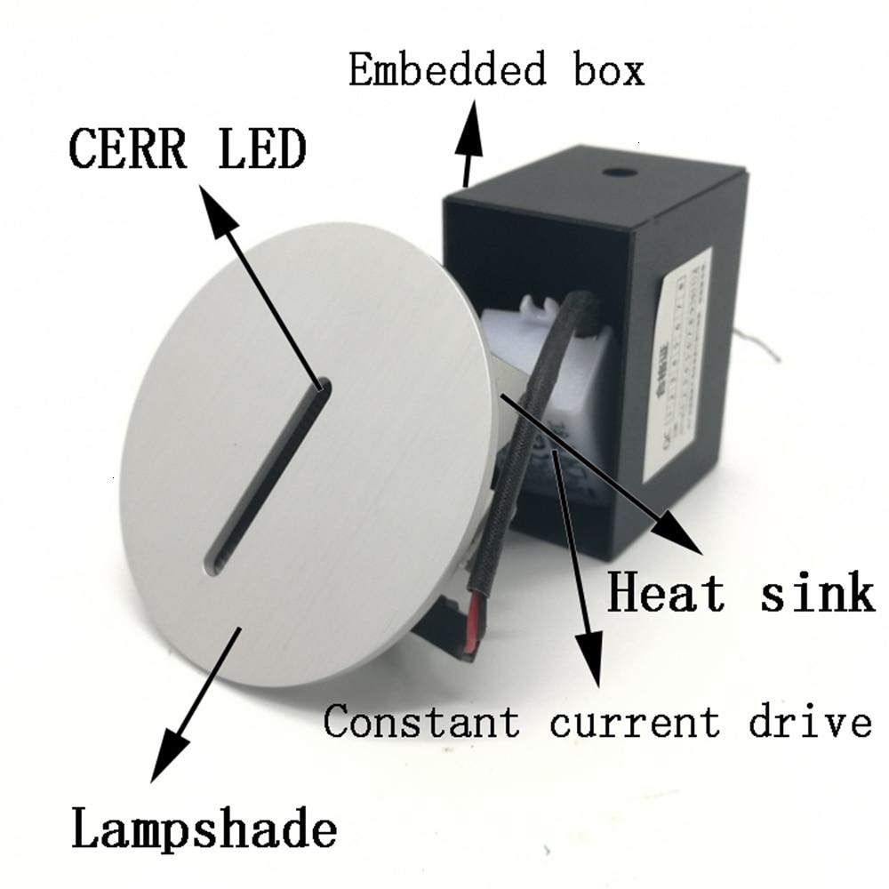 AC85-265V passo luz interior recesso escada lâmpada