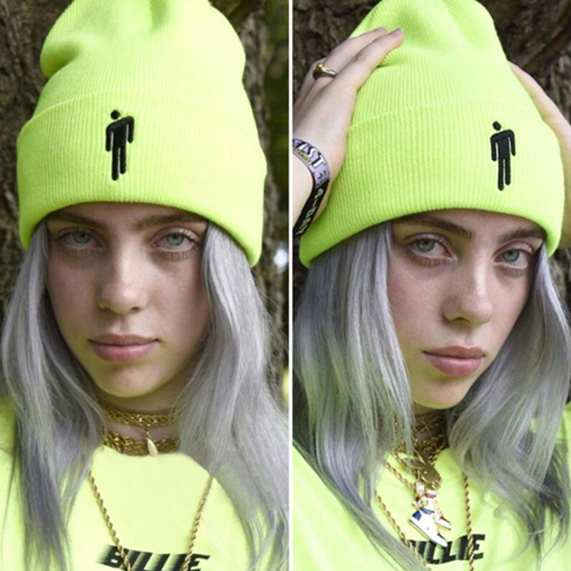 New Embroidery Billie Eilish Beanie Hat Women Men Knitted Warm Winter Hats For Women Men Solid Hip-hop Casual Cuffed Autumn Hat