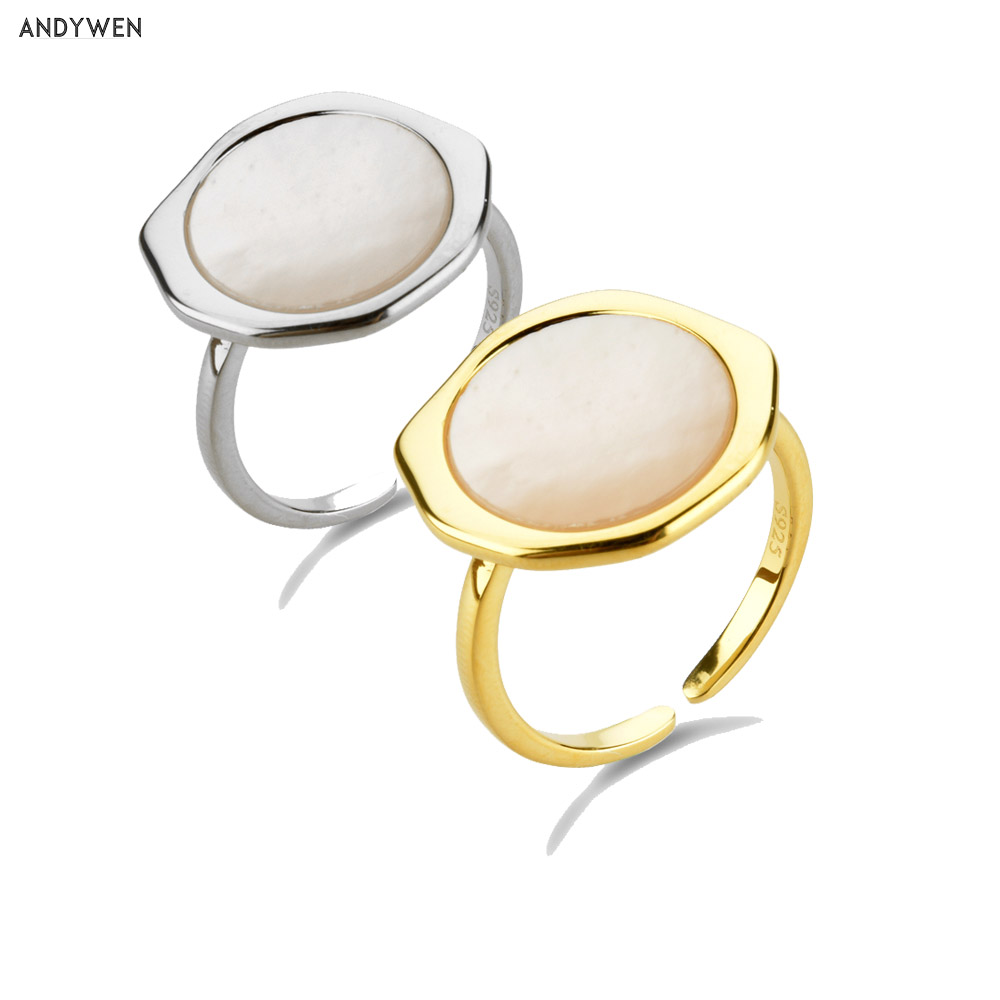 ANDYWEN 925 Sterling Silver White Gemstone Big Large Resizable Rings 2020 Gold Large Adjustable Circle Ring Luxury Jewelry