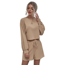 Khaki Women's Casual Home Knitted Suit 2021Spring Long Sleeve Shorts Sets Women Fashion Two-Piece O-Neck Pullover Pant Suits