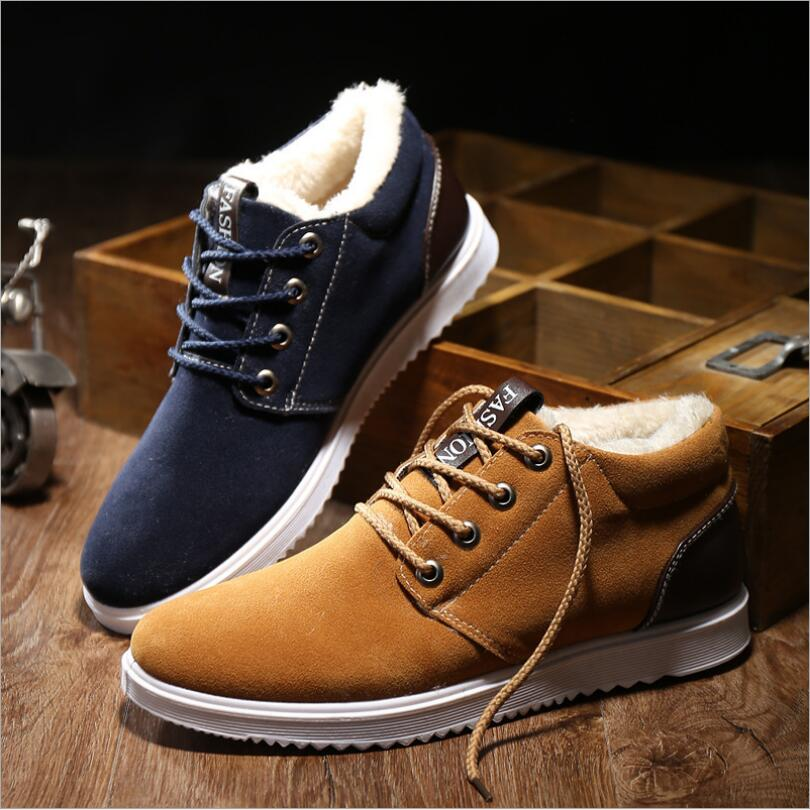 JX30 Men Boots Men Winter Shoes Warm Ankle Botas Hombre For Suede Winter Boots Shoes Men Plush Sneakers Mens Zapatos De Hombre