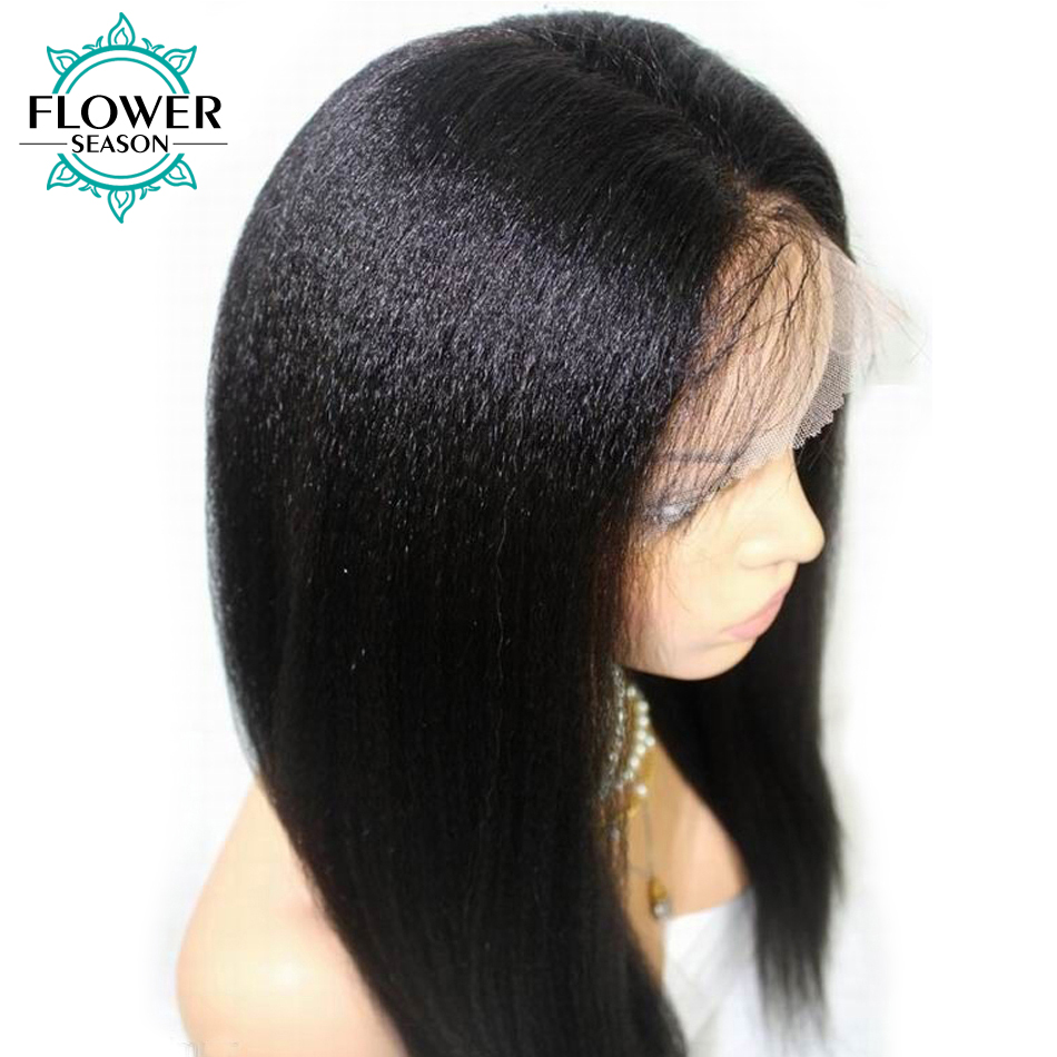 Yaki Straight Human Hair Wigs with Baby Hair Glueless Full Lace Wig for women Indian Remy Hair Pre Plucked 130% FlowerSeason