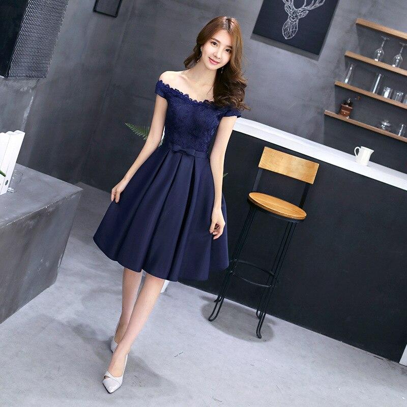 Evening Gown 2019 Summer New Style Off-Shoulder Short Banquet Dress Slim Fit Elegant Host Graduation Evening Dress Women's
