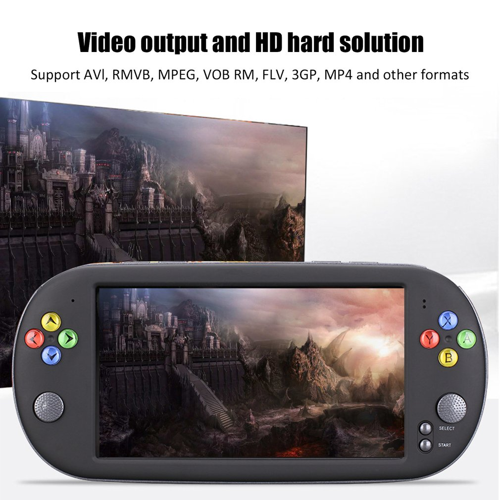 """X16 16G Console Game Video Game Console with Double Rocker For GBA NES Games 1300  Games With 7"""" Screen Portable Game Console"""