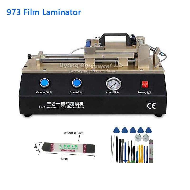 Máquina de Estratificação Automática do Filme Bomba de Vácuo Equipamento de Reparo para o Telefone 3 em 1 Embutida Universal Celular Lcd Oca ly 973