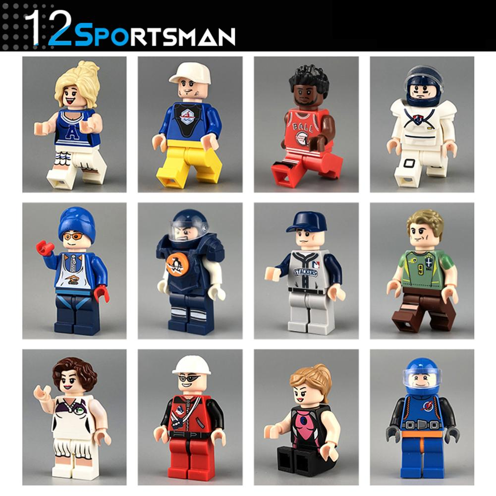 12 Models Of Sports Building Blocks Dolls Basketball Man Model Toy Action Figure Brick Kids Toys in Blocks from Toys Hobbies