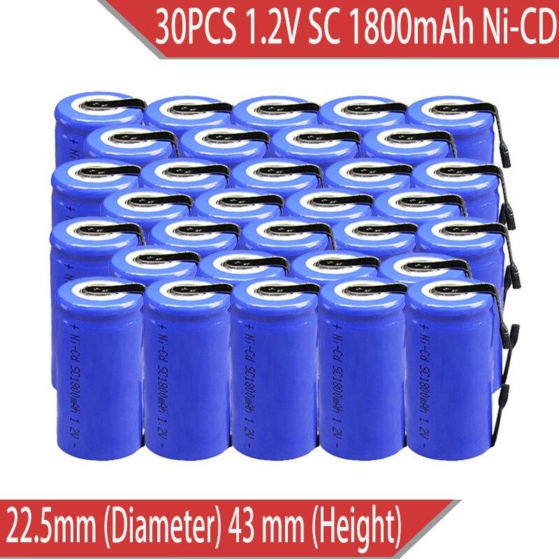 Pçs/lote 30 Novos Sub C SC 1.2V 1800mAh Ni-Cd baterias Recarregáveis ferramentas Elétricas/furadeira elétrica soldadura de parafuso Frete Grátis