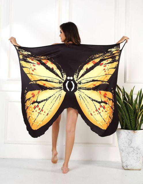 2020 Summer Women Beach Wear Tunic Bikini Bath Sarong Wrap Skirt Swimsuit Cover Up Butterfly Print Sexy Cover-Ups Dress Swimwear 4
