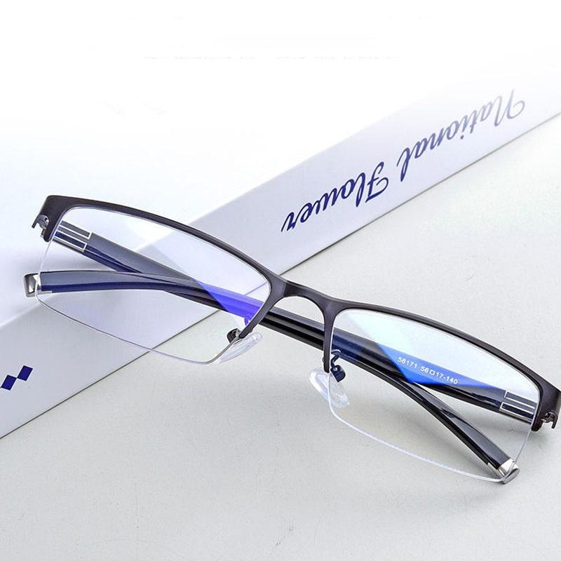 Meia armação de metal miopia óculos quadrados miopia óculos anti luz azul miopia óculos diopter 0 -1.0 a 6.0