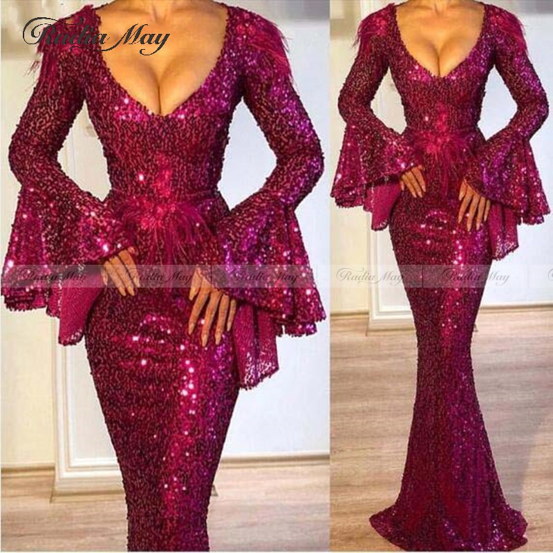 Sparkly Sequin Mermaid Prom Dresses Long Sleeves V Neck Ruffles Feather Evening Dress Dubai Formal Gowns 2020 Vestido De Festa
