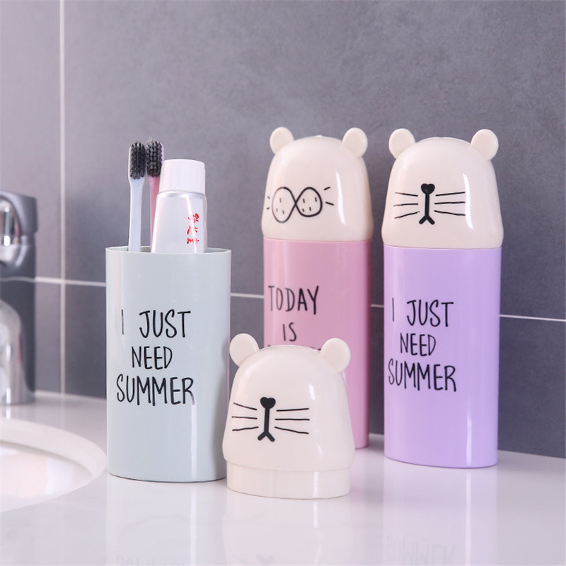 Cartoon Tooth Brush Holder Toothpaste Bathroom Accessories Portable Travel Holder Cup Storage Organizer Toothbrush Stands image