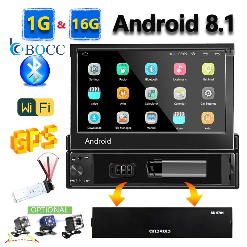 1din Android 8.1 GO Quad-Core Car Audio GPS Navigation Player 7'' Universa Radio WiFi Bluetooth MP5 Multimedia Stereo image