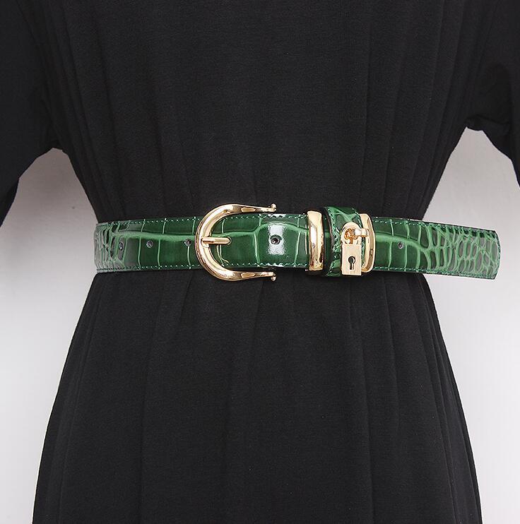 Women's Runway Fashion Genuine Leather Cummerbunds Female Dress Corsets Waistband Belts Decoration Wide Belt R2864