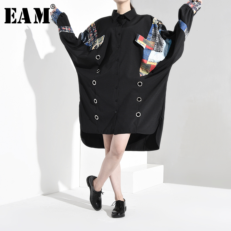 [EAM] Women Black Hollow Out Asymmetrical Print Big Size Dress New Lapel Long Sleeve Loose Fit Fashion  Spring Autumn 2020 1B062