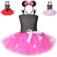 Girl's dress girl's Minnie pompon Polka Dot cartoon mesh dress children's performance dress princess mesh insert polka dot knee length bodycon dress