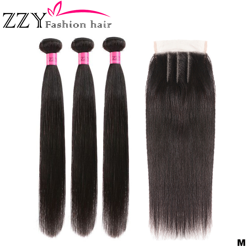 ZZY Fashion Hair Brazilian Human Hair 3 Bundles With Closure Straight Hair Bundles With Closure 8-26 Inch Non-remy Human Hair