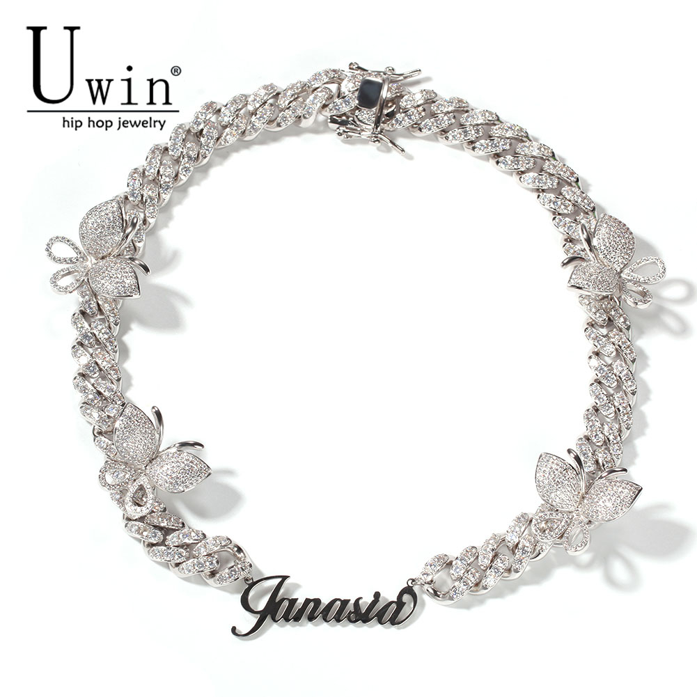 Uwin Name Necklace With Butterfly Cuban Chain Custom Stainless Steel Letters DIY With Iecd Out CZ Full HipHop Jewelry Gift