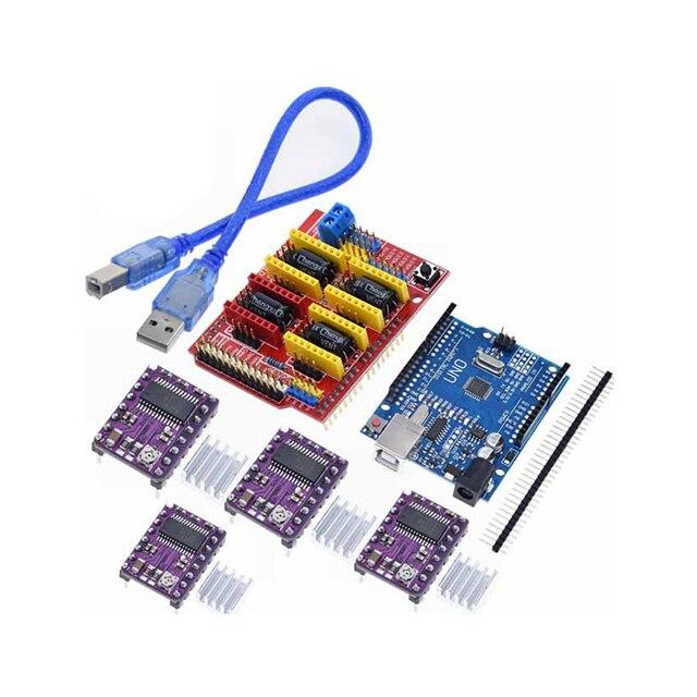 A18 -- cnc schild V3 gravur maschine 3D Drucker + 4 stücke DRV8825 treiber expansion board Für Arduino UNO R3 mit USB kabel