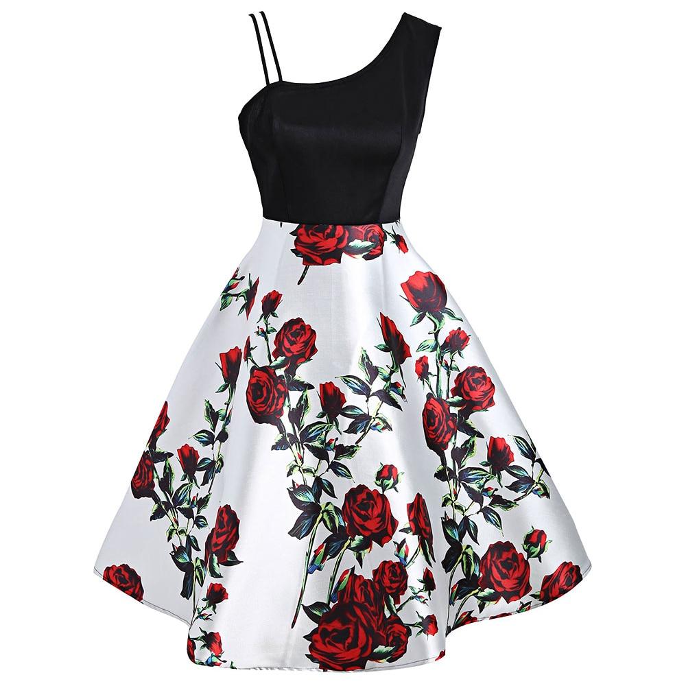 Винтажное женское платье с цветочным принтом, на одно плечо, летнее, для вечеринок, в стиле ретро, рокабилли, vestidos de fiesta