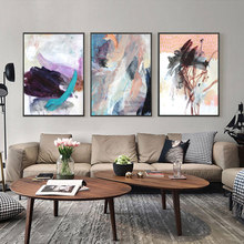 Abstracto aquarela azul poster e impressão em tela quadros pop arte da parede imagem em tela escritório sala de estar decoração casa
