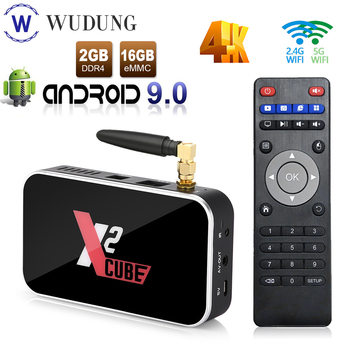 Newest Android 9.0 TV box X2 Cube S905X2 Quad Core 2GB DDR4 16GB Set Top Box 2.4G&5.8Ghz Dual Wifi Home Media Player Bluetooth