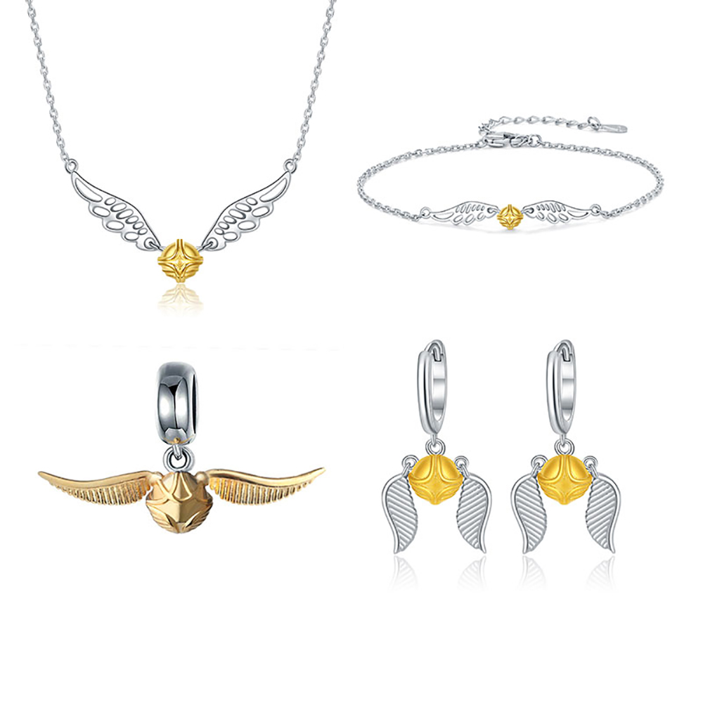 925 sterling silver Golden Snitch Jewelry Set necklace a series of movie ball charm fit European pendant bracelet for women gift