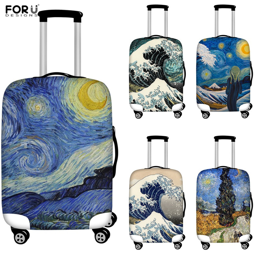 FORUDESIGNS Oil Painting Art Print Elastic Luggage Protective Covers 18-32Inch Dust-proof Suitcase Covers Traveling Accessories