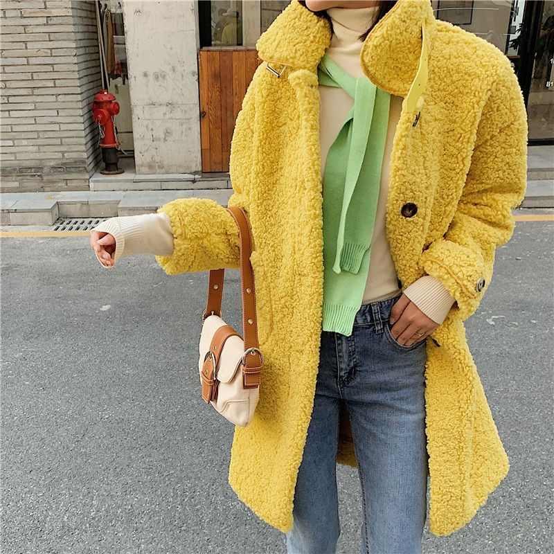 ผู้หญิงเสื้อขนสัตว์ Faux 2019 ฤดูหนาวตุ๊กตาเสื้อแฟชั่นยาว Lamb ขนสัตว์เสื้อนอกสุภาพสตรี Outwear เสื้อโค้ทเกาหลี PLUS ขนาดเสื้อ